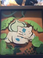 Sleepy bulbasaur shadow box by mylittlezombie
