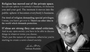 Salman Rushdie on respecting religious beliefs.. by rationalhub