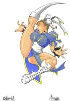 Chun Li Axe Kick Colored by Kobe-Barnes