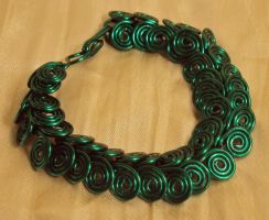 Green Coils Bracelet by ACrowsCollection