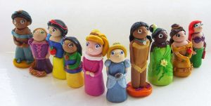 Disney Princess Clay Figures V Formation by tyney123