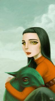 Girl with beast by fabricebackes