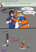 AskSasuke: A foodfight with Naruto. by Livori