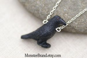 Black Crow Necklace by MonsterBrandCrafts