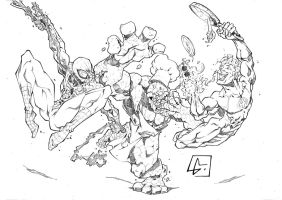 Spiderman n Human Torch running away from Thing by marvelmania