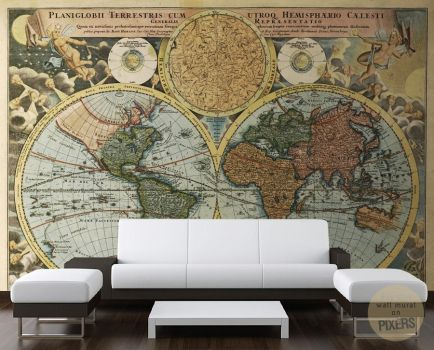 Retro Map Wall Mural by PIXERSIZE