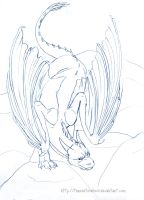 Saphira Pencil Lineart by TheRootOfAllEvil