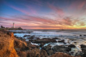 Pigeon Point Lighthouse at Sunset by KickStart011