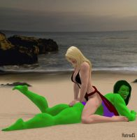 90K: Ms. Marvel and She-Hulk by hotrod5