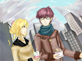 T-A Collab with Astre-Thief: A Stroll around town. by HaniHunni