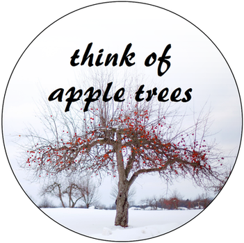 Think of apple trees - button design by LadyXantila