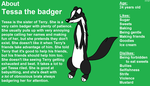 About Tessa the badger by FluffyFerret97