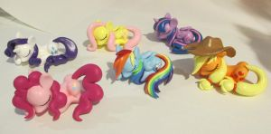 Mane Six Sleeping Ponies by EarthenPony