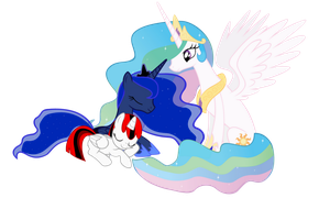 Request #7 ~ Pheonixflame, Luna and Celestia ~ by Radiant--Eclipse