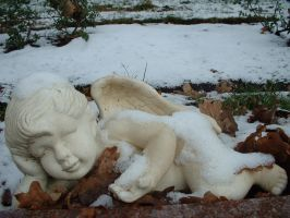 winter cemetary angel 1 by JensStockCollection