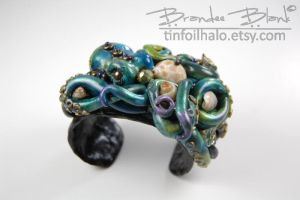 Blue and Teal Octopus Cuff Bracelet by TinfoilHalo