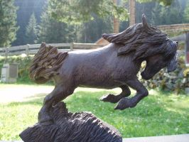 Frisian horse in bog oak by woodcarve