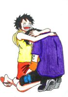 Luffy comforting Ace by NarutoUchiha666