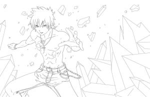 Gray from Fairy Tail -LINEART- by jadeedge