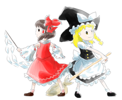 Touhou_Shrine Maiden and Magician by Chivi-chivik