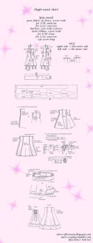 Lolita High-waist skirt tutorial and pattern by Auris-Lothol