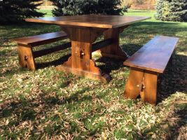 trestle table and benches by MrMillstone