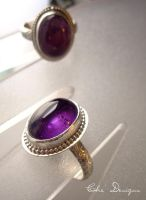 SS Ring Pair with Amethysts by che4u