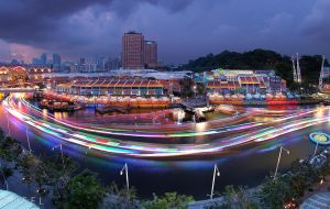 Singapore River Lights up by Draken413o