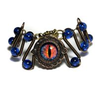 Evil Blue Fire Dragon Eye Bracelet by CatherinetteRings