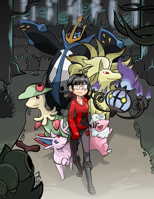 Commissioned Sketch - Pokemon in Viridian Forest by seto