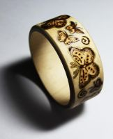 Pyrography Butterfly Bangle by BumbleBeeFairy