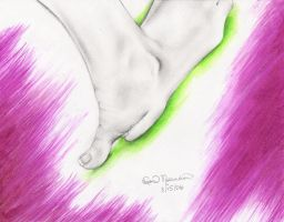quick sketch of a foot by paintitblack