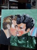 Jeames Dean kissing Elvis by kxmylo