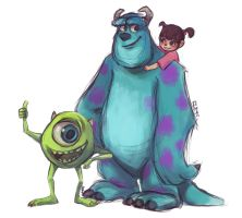 Mike, Sulley and Boo by Rosana127