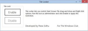 Lock Windows 8 Tiles Using Tile Locker by parassidhu