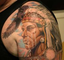 Native American w Bald Eagle by artofbiagio