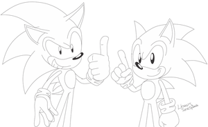 Sonic And Sonic Lineart by SonicSpeedz