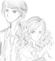 Ron and Hermione Sketch by SweetIllness