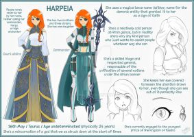 Commission for Azulann - Character Sheet Harpeia by Konsu4