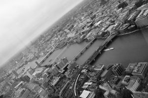 View from the Shard - Bridges in Black and White by tgwttn