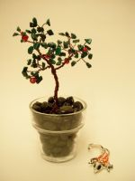 Wire Bonsai and koi by FlyingFrogCreations