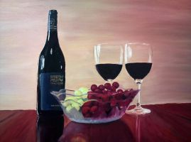 Still Life with Wine and Grapes by kielymb