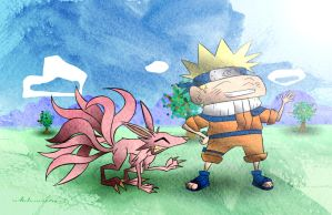 Naruto and Fox by mrstupes