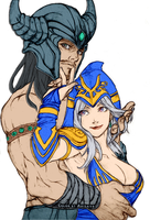 Ashe and Tryndamere by Akizava