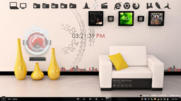 rainmeter desktop minimal liiving room 3D design by piks052589