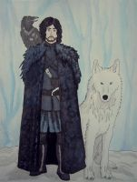 Jon Snow and Ghost by agataylor
