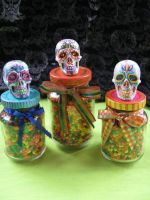 Sugar Skull candy bottles by Myrcury-Art
