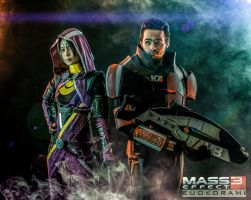 Tali'zorah and Commander Shepard Cosplay by Fouaadadel