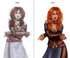 Past vs present- Iara by iara-art