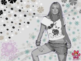 Hillary Duff Floral Wallpaper by thelfie
